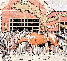 Viewing the racehorse in the paddock by Bridgeman Art Library