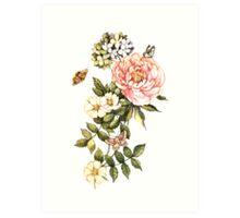Watercolor vintage floral motifs Art Print