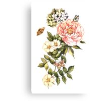 Watercolor vintage floral motifs Canvas Print