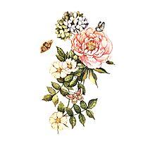 Watercolor vintage floral motifs Photographic Print