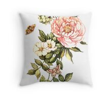 Watercolor vintage floral motifs Throw Pillow