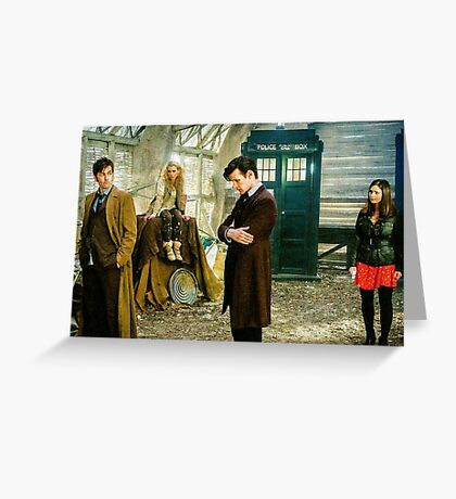 11th Doctor, 10th Doctor Rose and Clara Greeting Card