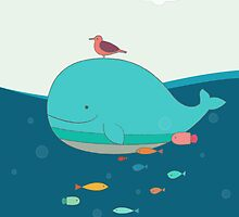 Cute Blue Whale and Bird  by mspinecone