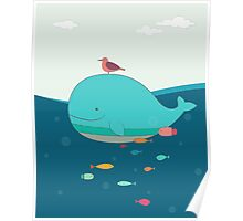 Cute Blue Whale and Bird  Poster
