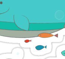 Cute Blue Whale and Bird  Sticker