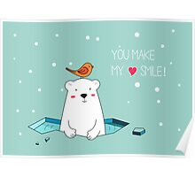 Cute Polar Bear and Bird  Poster