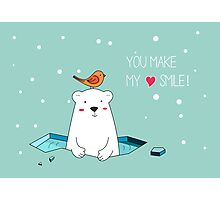 Cute Polar Bear and Bird  Photographic Print