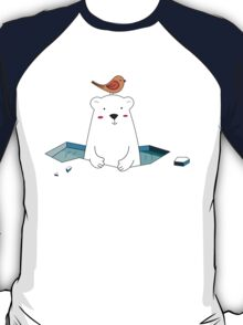 Cute Polar Bear and Bird  T-Shirt