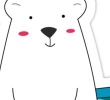 Cute Polar Bear and Bird  Sticker