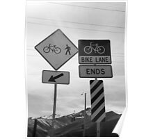 Bicycling Street Signs Poster