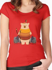 Brave Indian Bear Women's Fitted Scoop T-Shirt