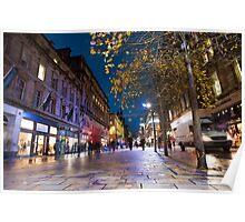 Colourful night scene in Buchanan St, Glasgow Poster