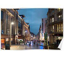 Buchanan Street in Glasgow at night Poster
