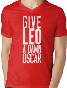 Give LEO A Damn Oscar [White Ink] Mens V-Neck T-Shirt