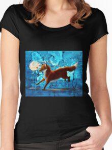 Fantasy Red Kitsune Fox Illustration Women's Fitted Scoop T-Shirt