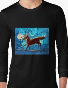 Fantasy Red Kitsune Fox Illustration Long Sleeve T-Shirt