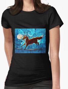 Fantasy Red Kitsune Fox Illustration Womens Fitted T-Shirt