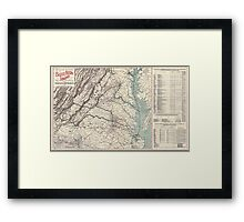 Civil War Maps 1074 Map showing the location of battle fields of Virginia compiled from official war records and maps for the Chesapeake Ohio Railway Co Framed Print