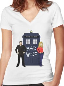 The Ninth Doctor and Rose Women's Fitted V-Neck T-Shirt