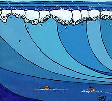 Classic Wave Series ~ Eddie and Jeff Paddle Out by David  Bell