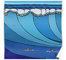 Classic Wave Series ~ Eddie and Jeff Paddle Out Poster