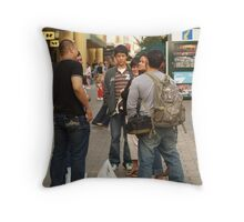 Chatting in the mall Throw Pillow
