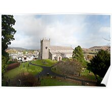 Hawkshead stone church and village Poster