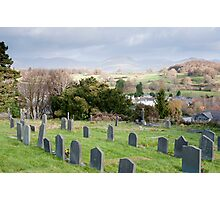 Gravestones in the churchyard at Hawkshead Photographic Print