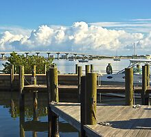 Jensen Beach Marina and Bridge, Florida by Zal Lazkowicz