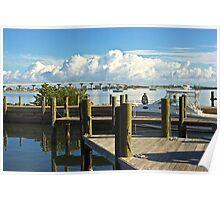 Jensen Beach Marina and Bridge, Florida Poster