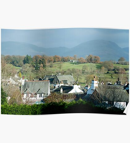 View over the rooftops of Hawkshead to Red Screes Poster