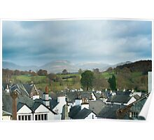 View over the rooftops of Hawkshead Poster