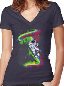 rainbow bridge Women's Fitted V-Neck T-Shirt