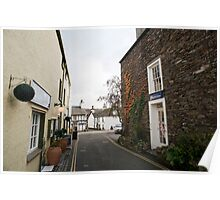 Narrow street in Hawkshead village, Cumbria Poster