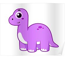 Cute illustration of a Brontosaurus dinosaur. Poster