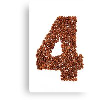 Number four. Coffee background Canvas Print