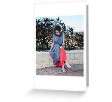 girl in new red dress  Greeting Card