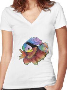 Rainbow betta Women's Fitted V-Neck T-Shirt