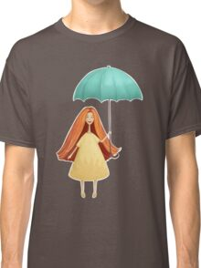 Girl jumping with umbrella Classic T-Shirt