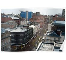 Aerial view of Sauchiehall Street in Glasgow Poster