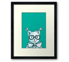 Funny hipster squirrel in glasses Framed Print