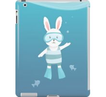 Cute white rabbit in the under water iPad Case/Skin