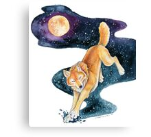 Golden Wolf with Fantasy Stars Canvas Print