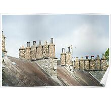 Traditional cylindrical stone chimney pots Poster