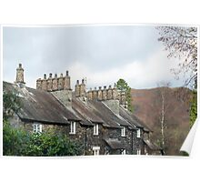 Row of quaint stone cottages at Skelwith Bridge Poster