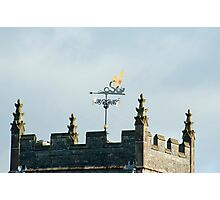 Weathervane on Hawkshead Church clock tower Photographic Print