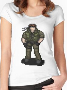 Solid Snaking Metal Gear Women's Fitted Scoop T-Shirt
