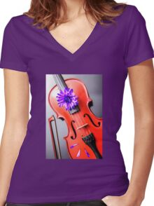Artistic Violin Women's Fitted V-Neck T-Shirt