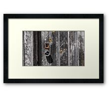 Weathered door, handle and keyhole Framed Print