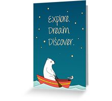 Polar bear and Bird on a boat  Greeting Card